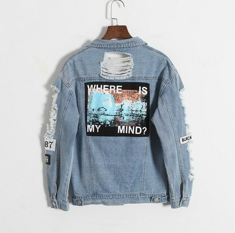Where is my mind? Korea Kpop retro frayed embroidery letter patch bomber jacket women Blue Ripped Distressed Denim Coat Female-geekbuyig
