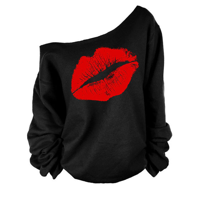 Zebery Long Sleeve Loose Woman T-Shirt Diagonal Collar Sexy Off-Shoulder Autumn Long Sleeve Top Lips T-Shirt for Women-geekbuyig