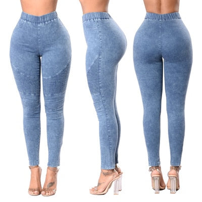 Autumn Winter Fitness Skinny Denim Jeans Women Casual Pencil Pants Pleated Stretch Elastic Waist Jean Bodycon Trousers S-XXL-geekbuyig