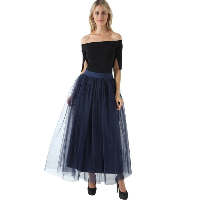 2018 Spring Fashion Womens Lace Princess Fairy Style 4 layers Voile Tulle Skirt Bouffant Puffy Fashion Skirt Long Tutu Skirts-geekbuyig