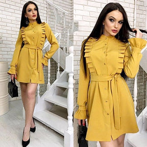 Summer Autumn New Style Women Office Lady Ruffles Sashes Shirts Straight Dress 2018 Fall Elegant Full Sleeve O-Neck Mini Dress-geekbuyig