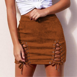 Ladies Suede Straps Sexy Package Hip Short Pencil Skirt Female Western Solid Slim Vintage Skirts-geekbuyig