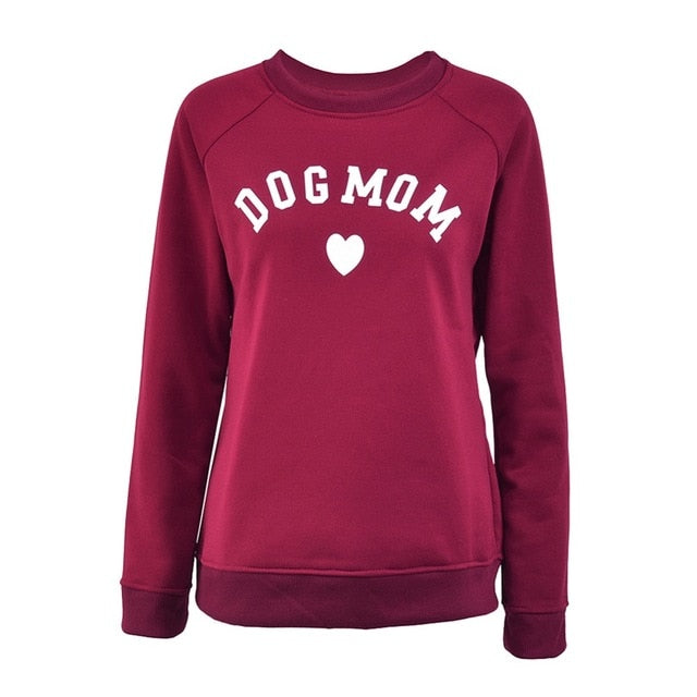Dog Mom Long Sleeve Casual Sweatshirt Women's Print Fashionable Heart-shaped Print Kawaii Sweatshirt Printing Pattern-geekbuyig