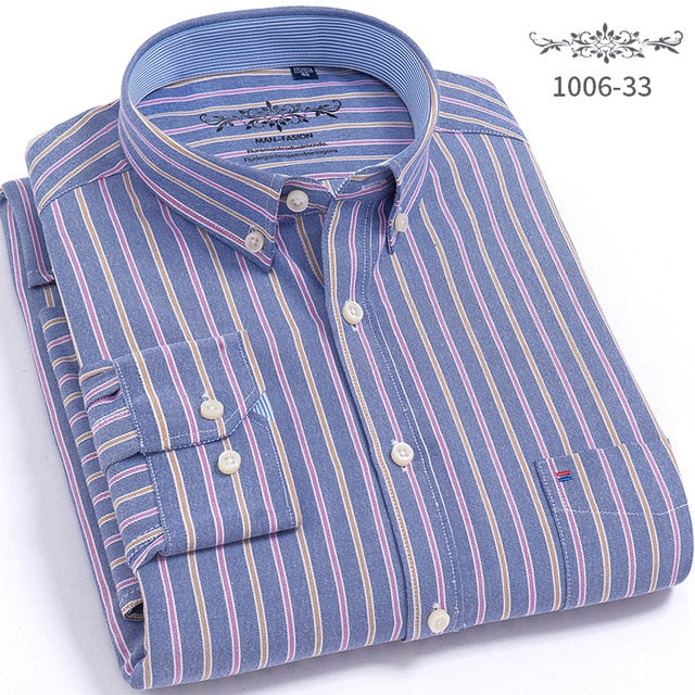 Men's Shirts Tops Men Plaid & Striped Shirt Oxford Casual Men's Shirts With Long Sleeves Slim Fit Camisa Social 5XL 6XL Big Size-geekbuyig