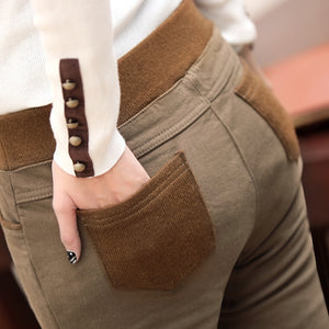 2019 Plus Size Women Winter Trousers Elastic Waist Trousers With Fleece Warm Female Pencil Pants 6XL 5XL Black Khaki Leggings-geekbuyig