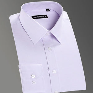 Men's Regular-fit Coarse-twill Solid Basic Dress Shirt Formal Business Long Sleeve White Tops Shirts for Social Work Office Wear-geekbuyig