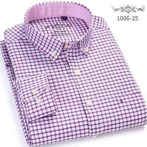 Men's Shirt Full Sleeve Regular Fit Solid & Plaid / Striped shirt Oxford Mens Dress Shirts Blue Casual Camisa Social 5XL 6XL-geekbuyig