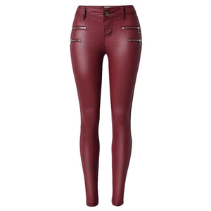 2018 Winter Black Women PU Leather Pants Big Plus Size Pants Trousers Women High Waist Stretch Pencil Pants Pantalon Femme