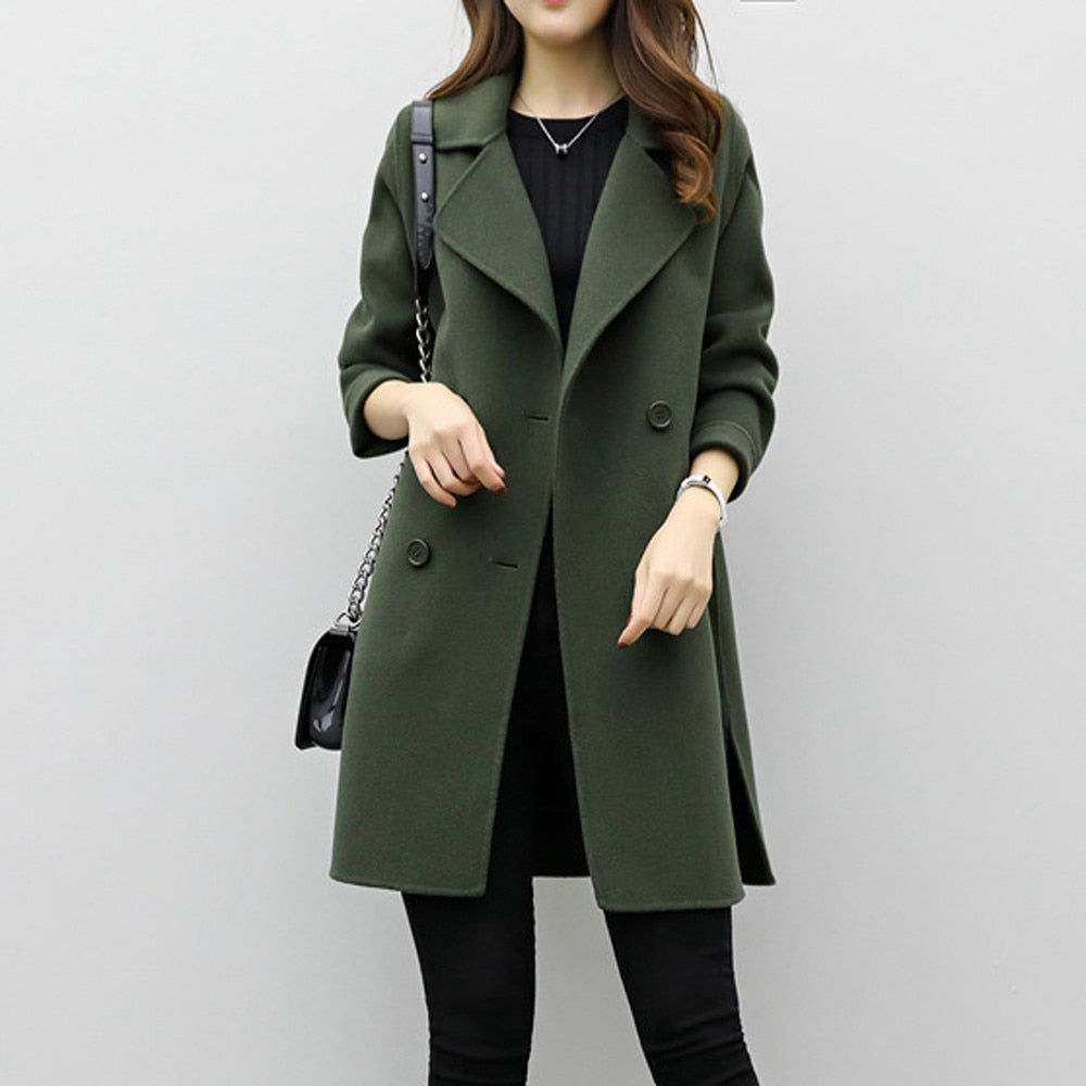 Women Medium-Long Loose Wool Blend Coat Double-breasted Slim Type Autumn Winter Warm Trench Female Overcoat Plus Size Clothing-geekbuyig