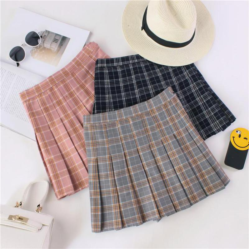 2018 New All Match Hot Women Fashion Skirts Plaid Cotton Skirt Korean Mini Skirt Student Style Summer Free Shipping-geekbuyig