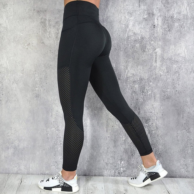 CHRLEISURE High Waist Leggings Women Fitness Legging Pocket Mesh Leggings Breathable Patchwork Jeggings Fitness Leggings S-L-geekbuyig