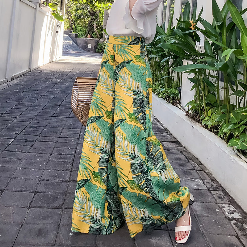 Fashion high waist pants 2018 summer women's boho style printed trousers casual loose female wide leg pants-geekbuyig