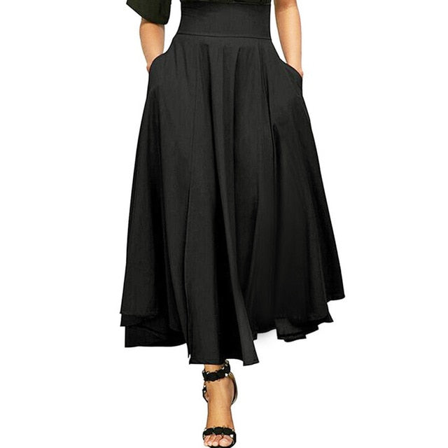 Plus Size XXL New Autumn Winter Women Gray Retro High Waist Pleated Belted Maxi Skirt Vintage Long Skirts 10 JUL25-geekbuyig