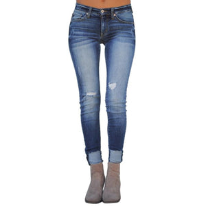Jeans for Women Blue Jeans High Waist Jeans Woman High Elastic plus size Stretch Jeans female washed denim skinny pencil pants-geekbuyig