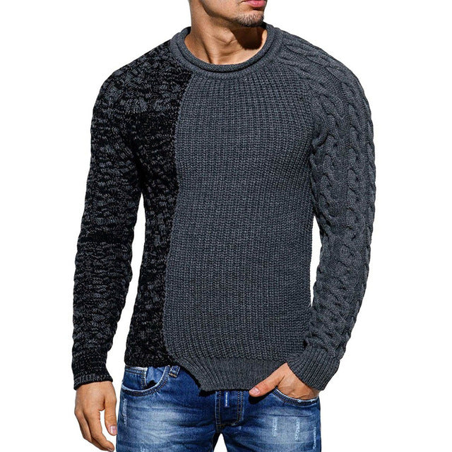 Feitong Fashion Men's Autumn Winter Pullover Knitted Raglan Patchwork Sweater Blouse Top cashmere sweater men wool zip#GH40-geekbuyig