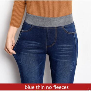 Winter Jeans High Waist Women's Pants Denim Black Velvet Warm Trousers For Women Thicken Elastic Waist Spring Clothes Plus Size-geekbuyig