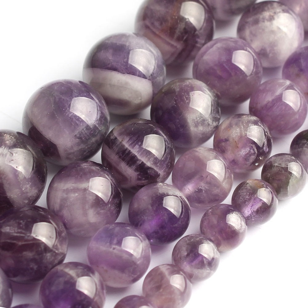 Natrual Flower Amethyst Stone Beads 8/10/12mm Purple Crystal Stone Beads For Jewelry Making Bracelet Necklace 15inches-geekbuyig