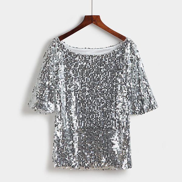 Zoe Saldana 2019 Half Sleeve T-shirt Women Sequins Mesh Sexy Slim Tee Shirts Plus Size S-5XL Silver Gold Black Casual Tops-geekbuyig
