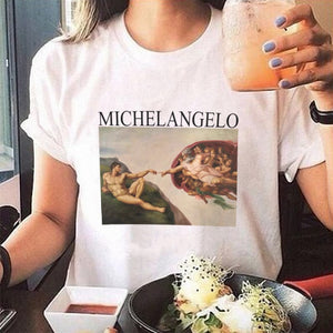summer t shirts womens spaghetti off the shoulder tops for women Michelangelo Pattern print tee shirt femme aesthetic clothes-geekbuyig