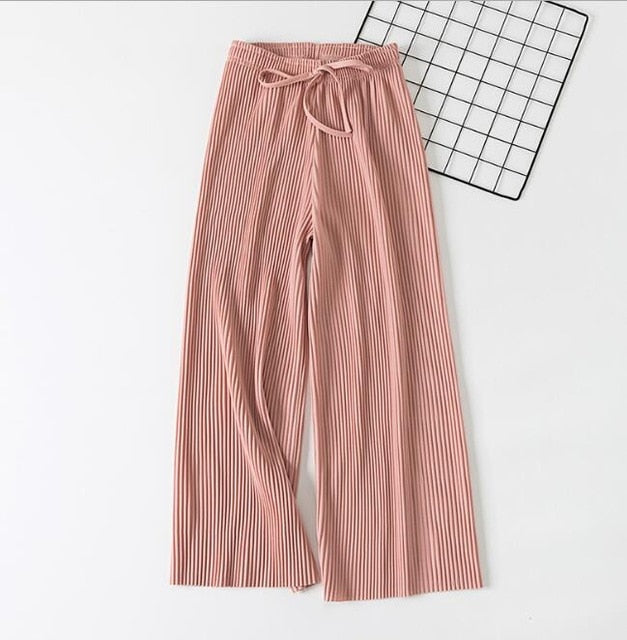 2019 Spring Summer New High Waist Pleated Chiffon Wide Leg Pants ElasticCasual Loose Pants Thin Ankle-length Trousers Women-geekbuyig