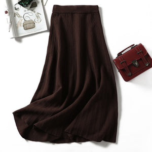 Women knitted long skirt winter warm sweater stripe A-line maxi skirts midi knit female bottoms casual swing skirt autumn black-geekbuyig