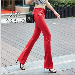 Women Pants Candy Jeans New Fashion Spring Bell-bottoms Pants Slim Casual Female Stretch Trousers Solid Jean pantalones mujer-geekbuyig