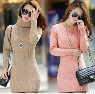 new women's spring autumn winter thicken turtleneck pullover knitted sweaters women long slim sweater dresses-geekbuyig