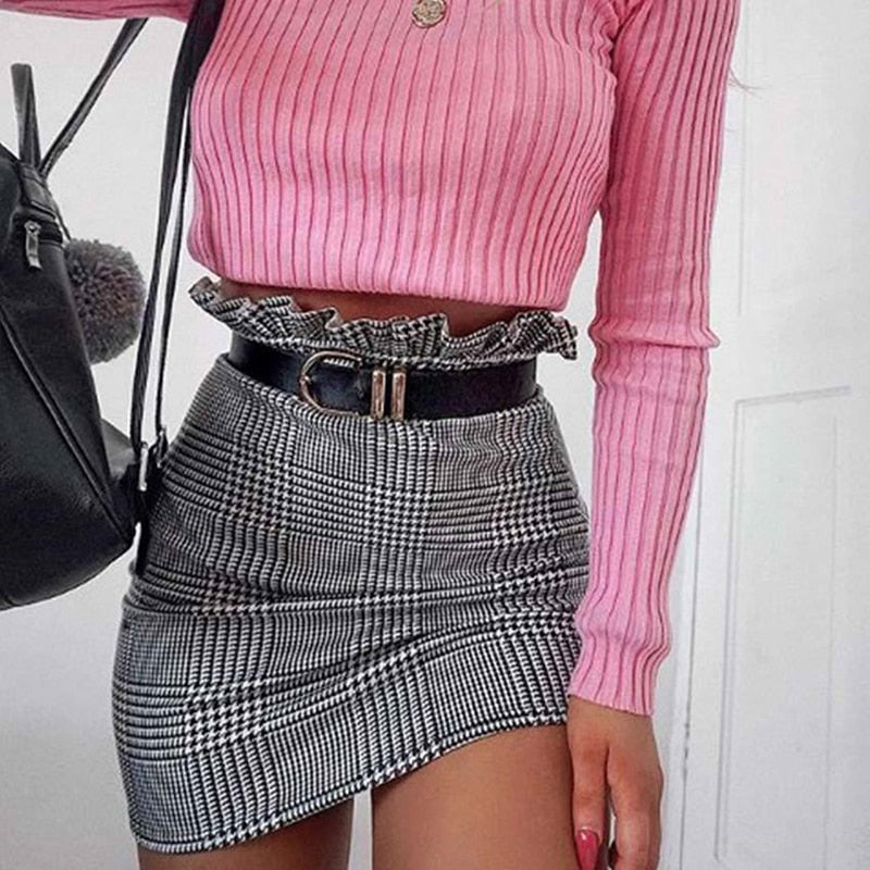 Bigsweety Fashion Plaid A-line Skirt Ruffles High Waist Skirt Women Mini Skirts Female New Summer Autumn Sexy Skirt Women-geekbuyig