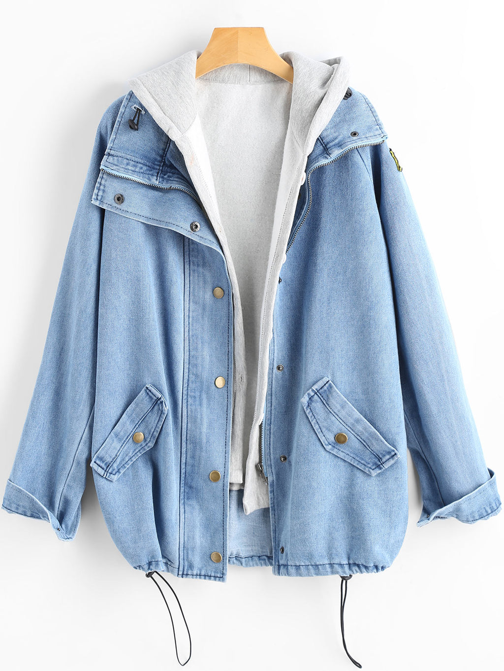 Wipalo 2018 Fashion Button Up Hooded Denim Jacket Coat Autumn Winter Jeans Jackets Female Casual Outwear Wide Waisted Long Tops-geekbuyig