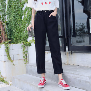 Women High Waist Denim Cotton Trousers 2018 Autumn Korean Ulzzang Harajaku Harem Cargo Pants Straight Wide Leg Pantalon Mujer-geekbuyig