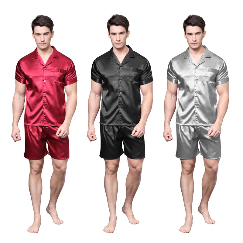 Tony&Candice Satin Silk Pajamas Shorts For Men Rayon Silk Sleepwear Summer Male Pajama Set Soft Nightgown For Men Pyjamas-geekbuyig