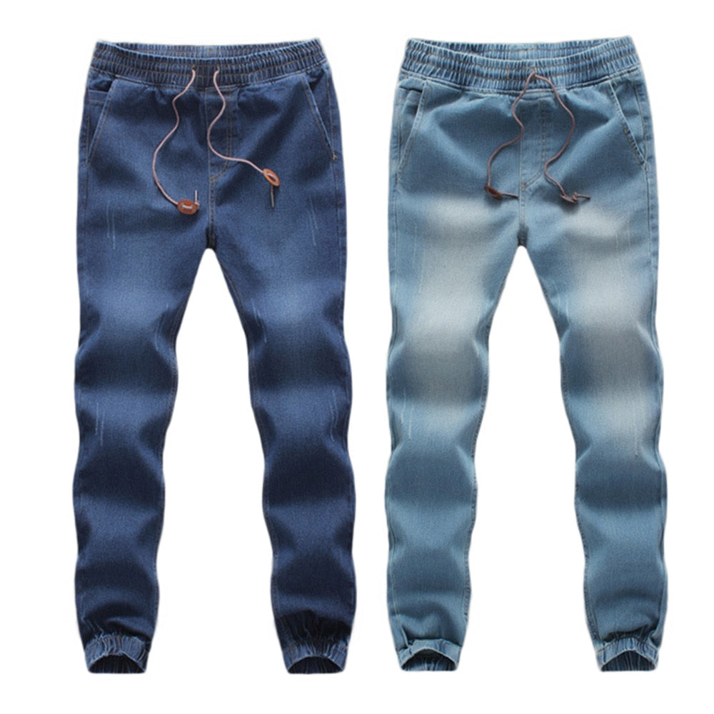 FeiTong men's casual pants Men's Casual Autumn Denim Cotton Elastic Draw String Work Trousers Jeans Pants-geekbuyig
