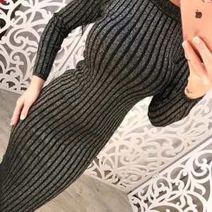 Long Sleeve O Neck Sweater Dress Women Midi Bodycon Vestidos Mujer Autumn Winter 2019 Ribbed Robe Femme Casual Girl Dresses C224-geekbuyig