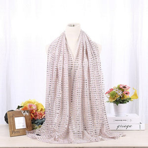 Female Long Scarf New Style Fashion Muslim Hijabs High Quality Chiffon Shiny Lurex Sequins Shimmer Pleated Crinkle Women Scarf-geekbuyig