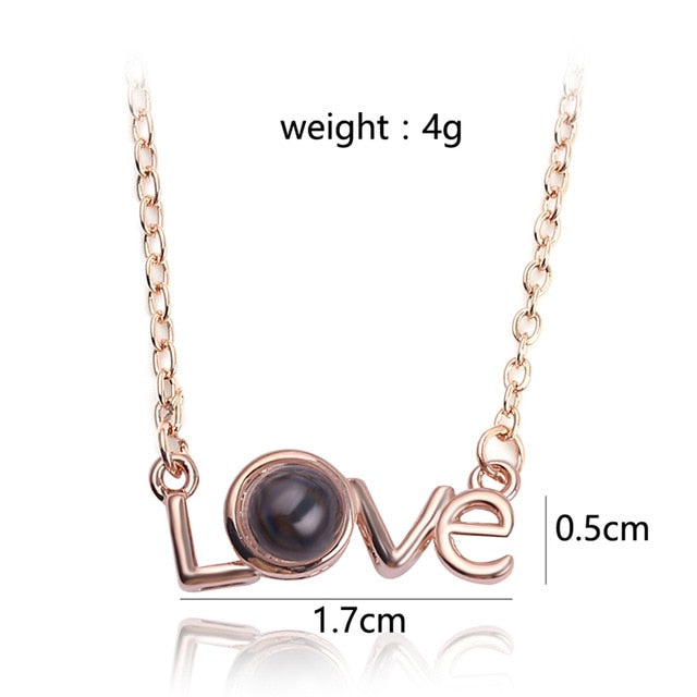 HOT 2018 Projection 100 Languages I Love You Necklace For Women Love Memory Wedding Pendant Necklace Choker Gift for Lover-geekbuyig