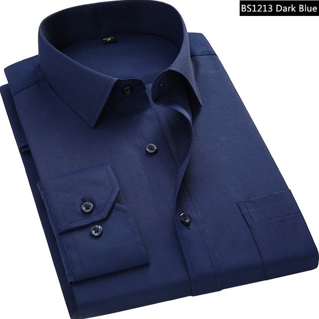 2019 New Men Business Casual Long Sleeved Shirt Male Solid Color Dress Shirt Slim Fit Chemise Homme Camisa Social Masculina-geekbuyig