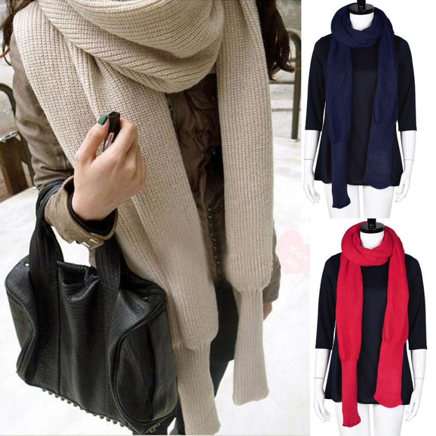 Fashion Women Winter Warm Knit Wool Scarf Long Sleeve Wrap Scarves Shawl Drop Ship New 6.28-geekbuyig