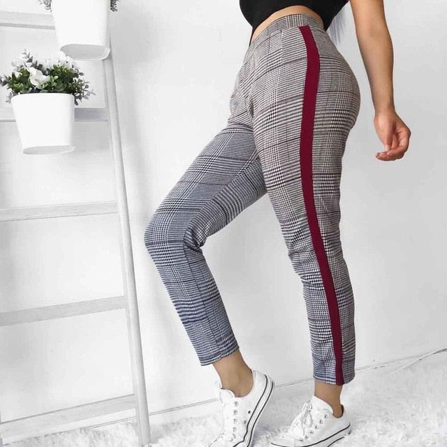 women vintage plaid high waist pencil pants fashion ladies side striped Leggings England Style Pants Female Ankle-Lenght Pants-geekbuyig