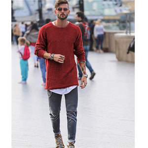 Men Sweater Autumn Winter Knitted Solid Simply Style Pullover Casual Loose O Neck Sweater Jumper Male Black Outerwear Brand 2018-geekbuyig