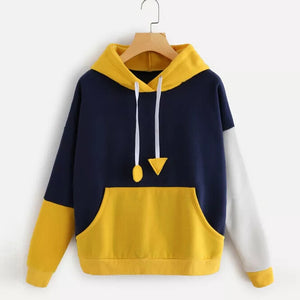 Autumn 2018 Harajuku Sweatshirt Hoodies Women Streetwear Color Block Pocket Hoodie Korean Style Woman Clothes Moletom-geekbuyig