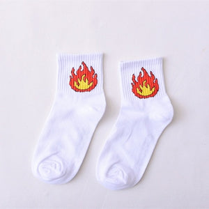 Winter Women Short Socks Harajuku Korea Japanese Cotton Flame Harajuku Socks Girl Cartoon Cactus Gun Shark Funny Female Socks-geekbuyig
