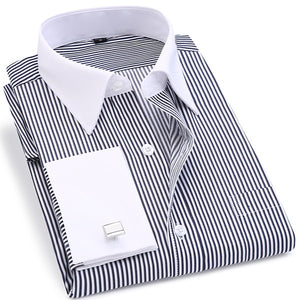 Men French Cufflinks Shirt 2019 New Men's Stripes Shirt Long Sleeve Casual Male Brand Shirts Slim Fit French Cuff Dress Shirts-geekbuyig