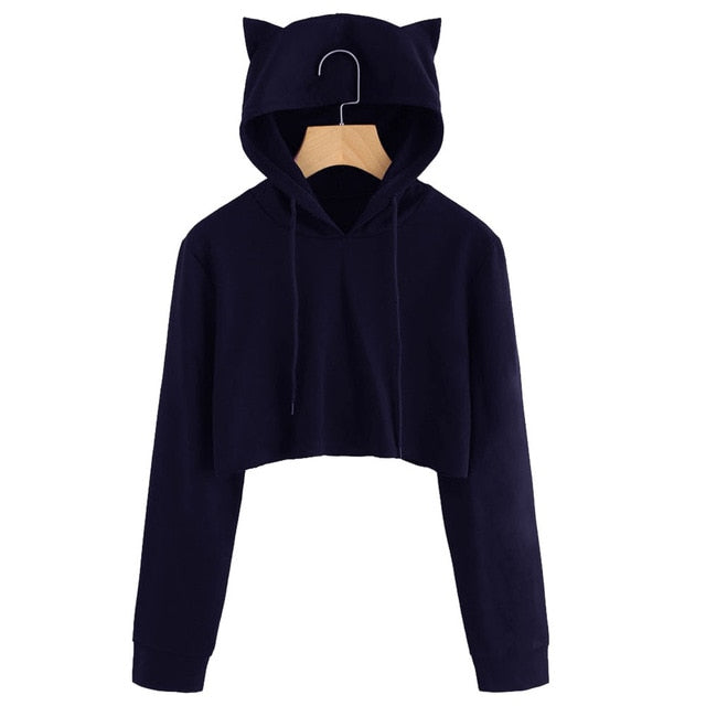 Autumn 2018 Harajuku Crop Top Sweatshirt Hoodies Women Streetwear Cute Ear Hoodie Cropped Tumblr Korean Style Woman Clothes-geekbuyig