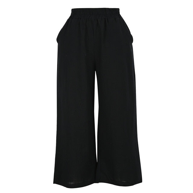 Anself 2018 New Women Cotton Linen Wide Leg Pants Elastic Waist Solid 5XL Summer Plus Size Pants Casual Loose Trousers Black-geekbuyig
