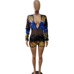 Charming Colorful Sequins Jumpsuit Rompers Women 2018 New Long Sleeve Sexy Deep V Neck Bodysuit Xmas Party Nightclub Playsuits-geekbuyig