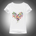 2018 summer Kawaii Heart shape colorful butterfly t shirt women beautiful summer cotton printed tee brand fashion Harajuku tops-geekbuyig