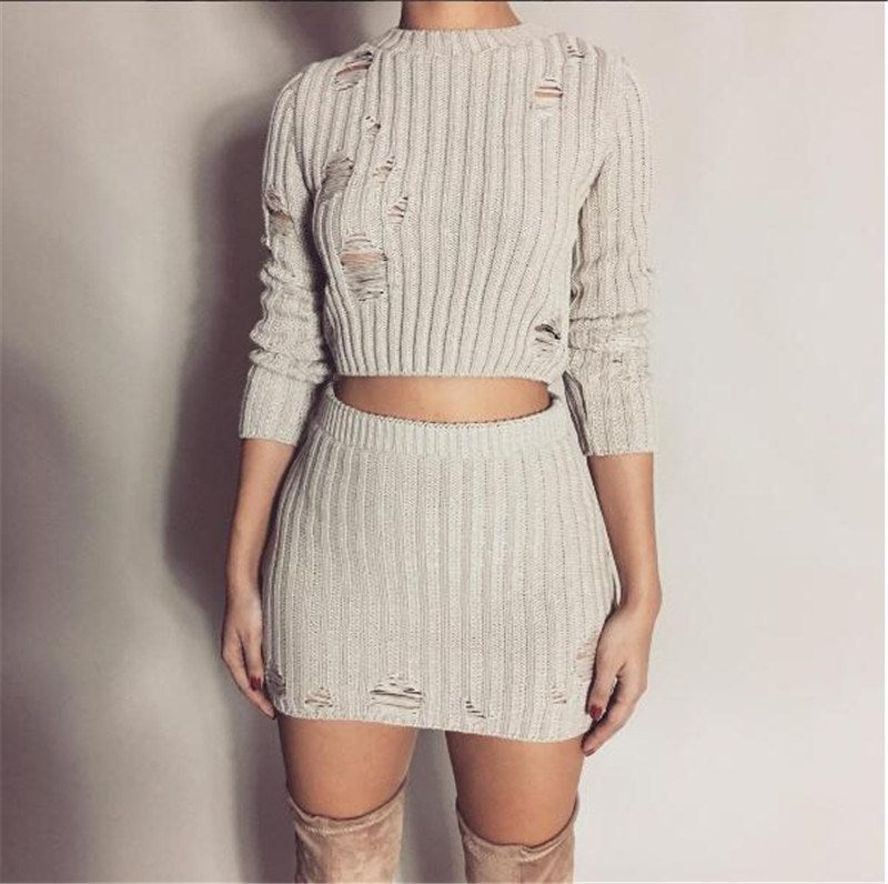 Women Sexy Autumn Knitted Tops and Mini Dress 2 Piece Set Fashion Hollow Out Short Bodycon Skirt and Sweater Two Piece Set-geekbuyig