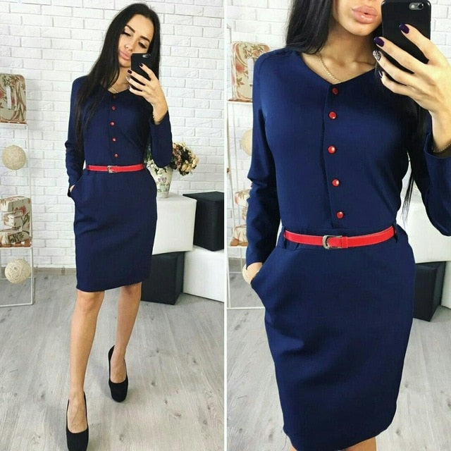 Elegant Autumn Spring New Arrival Shirt Dress Women Casual Straight V-neck Red Button Pockets Office Work Dresses without belt-geekbuyig