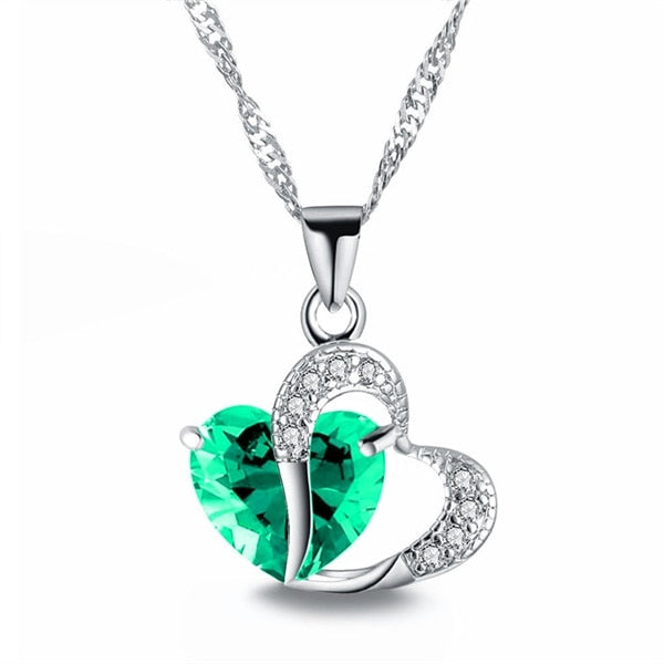 FAMSHIN 2018 Sell like Hot Cakes 6 colors Top Class lady Fashion Heart Pendant Necklace Crystal jewelry New Girls Women Jewelry-geekbuyig