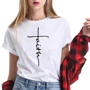 New Arrival 100% Cotton T-shirt Women and Men Printing Cross Christian T Shirt Summer Cool Tops Jesus Clothing Female Tees Femme-geekbuyig